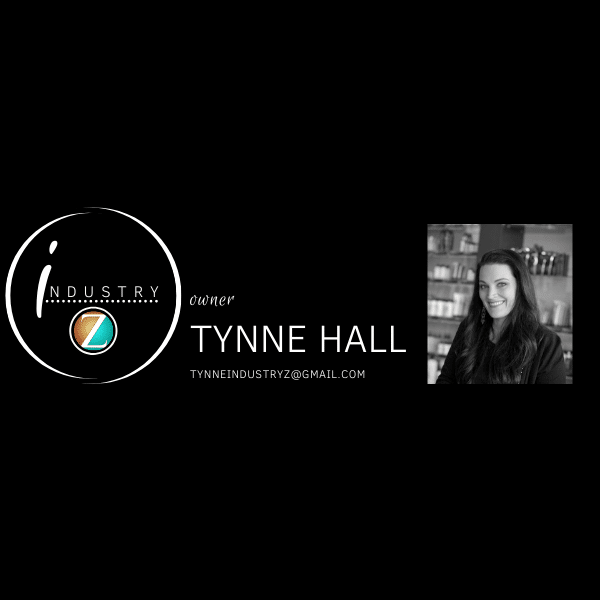 Tynne Hall portrait and the Industry Z logo side by side on a banner